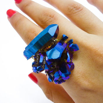 Titanium Quartz Cobalt Blue Crystal Rainbow Druzy Ring by AstralEYE