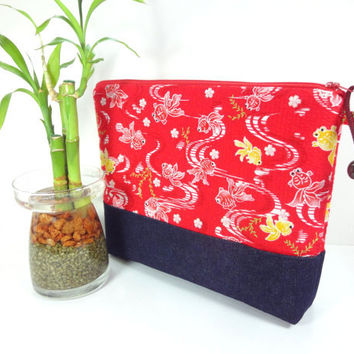 Handmade Cosmetic Bag, Gift For Her, Fabric Travel Pouch, Padded Cosmetic Pouch Japanese Kimono Cotton Fabric Goldfish Red