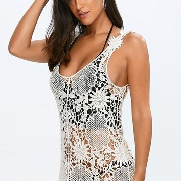 Apricot Lace Hollow-out Round Neck Sleeveless Bodycon Club Mini Dress