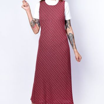 ECH Vintage Maroon Pinafore Dress