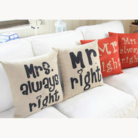 decorative throw pillow cover, pillow cover, his and hers pillow cases, couples pillow cover, Mr right Mrs always right pillow cover, pillow