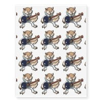 Rock and Roll Guitar Owl in Jumpsuit Cartoon Temporary Tattoos