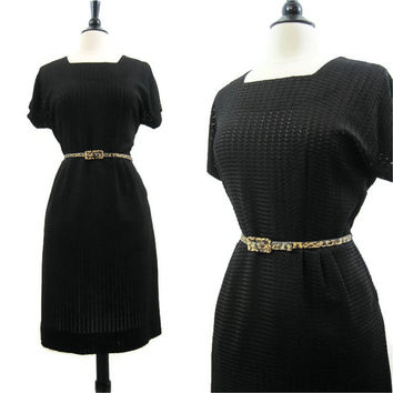 40s 50s Dress Vintage Sheer Woven Knit Rayon Jersey Summer L XL