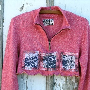Upcycled Cropped Sweater Shrug / Rose Pink Heathered / Shabby Chic Lagenlook Artsy Bohemian / Refashioned Eco Clothing / Large Xlarge