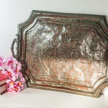 Persian Copper Tray: Vintage Large Islamic Tray Engraved Decorations, Side Table Top, Islamic Geometric Pattern, Mediterranean Home Decor