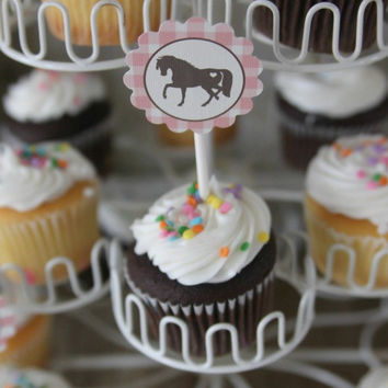 Cowgirl/Pony Birthday Party Cupcake Toppers