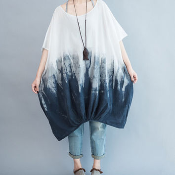 Cotton oversized Loose Fitting short sleeves lantern dress