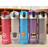 BPA Free Plastic Portable Water Bottle Cup Heros - Spiderman, Superman, Transformers, Batman, Captain America For Outdoor Sports Camping
