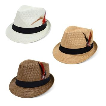 Spring/Summer Woven Fedora Hat with Feather - 3 Options Available