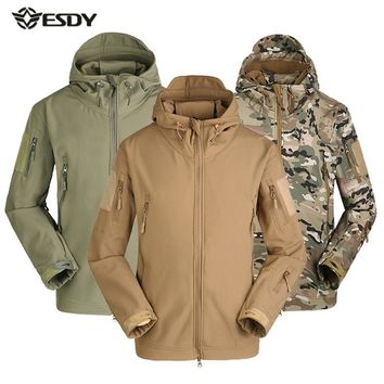 Men Winter Heated Fleece Jacket Waterproof Softshell Outdoor Sport Coat Camping Trekking Skiing male Camouflage Tactical Jackets