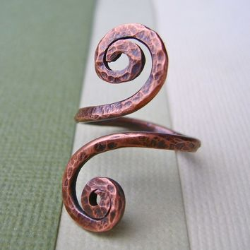 Hammered Copper Spiral Open Wrap Ring. Handmade Jewelry by Full Spiral on Etsy