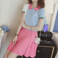 """Adidas"" Women Sport Casual Multicolor Stripe Short Sleeve Shirt Short Skirt Set Two-Piece Sportswear"