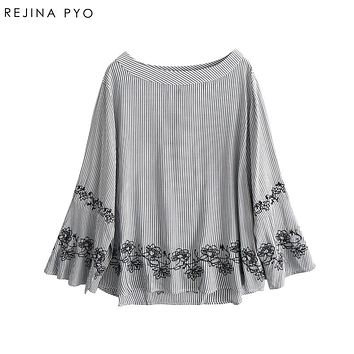 REJINAPYO Women Japan Style Sweet Vertical Striped Shirt O-Neck Flare Sleeve Embroidery Floral Loose Blouse Blusa New Arrival