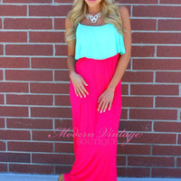 Mint ruffle Top Fushcia-Coral Bottom Maxi dress - Modern Vintage Boutique