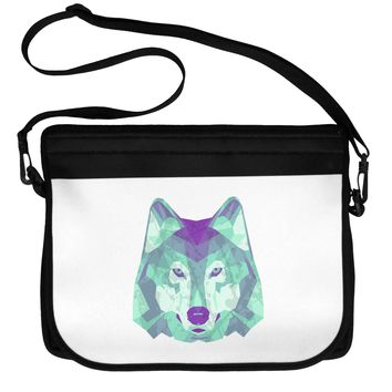 Geometric Wolf Head Neoprene Laptop Shoulder Bag by TooLoud
