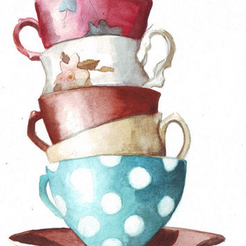 Original watercolor art tower of tea cups polka dots turquoise, red, yellow, pink painting