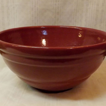 1930s Pfaltzgraff Pottery Antique Red Mixing Bowl York P Logo No 9