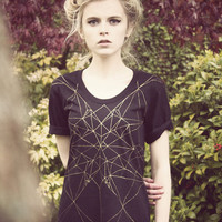 Hand Painted golden geometric dress