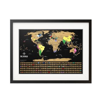 Scratch Off Map Of The World - Black & Gold World Travel Tracker Map ® - 17( h) x 24 (w) inches - Perfect Gift for Travelers