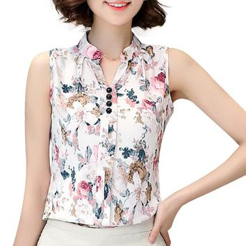 Softu Women's Fashion Hot Top Summer Blouse V Neck Sleeveless Butterfly Print Casual Chiffon Linen Lady Blusas Shirts Tops