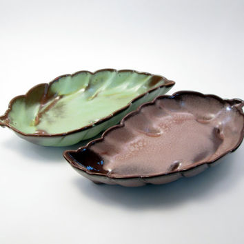Set of Vintage Green & Brown Two-Tone Frankoma Leaf Candy/Nut Dishes - approx 1950s - Earthy fall home decor