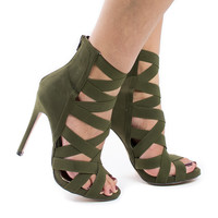 Jesse143 Olive Green By Liliana, Elastic Strappy Stiletto Heel Sandal