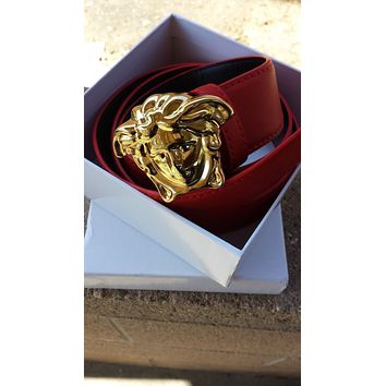 Versace designer unisex red leather belt  gold  buckle 26 - 34