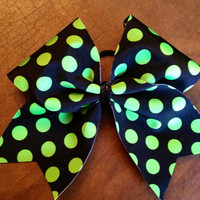 Cheer Bow - Black and green polka dot