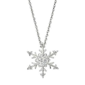 DiamonLuxe Crystal Sterling Silver Snowflake Pendant Necklace - Made with Swarovski Elements
