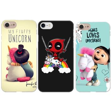 Funny Minion My Unicorn Phone Cases For iPhone X 5.8 Deadpool Riding a Unicorn Hard Cover For iPhone 5 5S SE 6 6SPlus 7 8 Plus