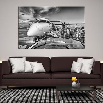 77340 - Passengers Boarding the Plane, Airplane Canvas Print, Black and White Aircraft Wall Art, Large Wall Art, Large Canvas Print, Aviation Wall Art, Office Decor