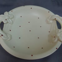 "Beswick England, Shallow Bowl with flower handles, Red Polka Dots, 12"" dia"