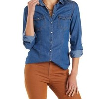 Denim Chambray Button-Up Top with Roll Sleeves