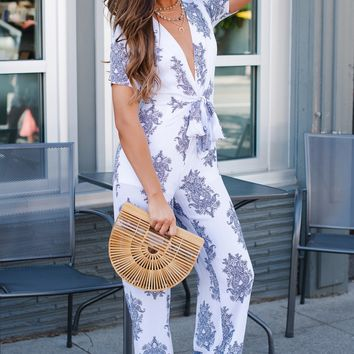 Jacey Printed Jumpsuit (White)