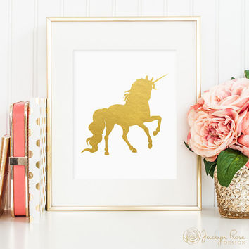 Unicorn print, printable wall art decor, gold foil unicorn print, minimalist art, faux gold foil unicorn art, home decor, bedroom decor JPG