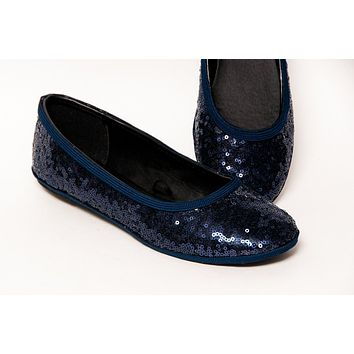 Navy Sequin Ballet Flat Shoes