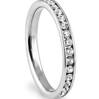 316L Stainless Steel White Cubic Zirconia CZ Eternity Wedding 3MM Band Ring Sz 9