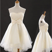 Elegant A-line High-low Tulle Bowknot Homecoming Dress