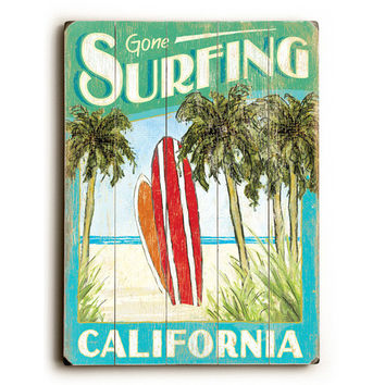 Personalized Gone Surfing California Wood Sign