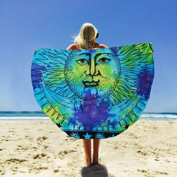 Round Celestial Sun Hippie Bohemian Table Beach Bed Wall Tapestry