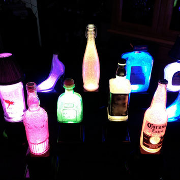 A Custom Glass Bottle (YOU CHOOSE)-Color changing LED recycled Lamp