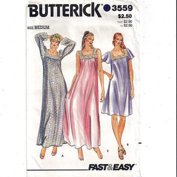 Butterick 3559 Pattern for Misses' Nightgown, Size Med. 12-14, From 1980s, FACTORY FOLDED, UNCUT, Vintage Pattern, Home Sewing Pattern, Easy