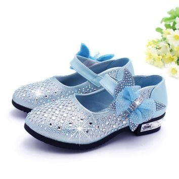 2017 Fashion Girls kids Shoes Rhinestone Glitter Leather Shoes For Girls Spring Children Princess Shoes Pink Silver Golden TX031