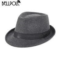 Fedora Hat Men Wool Felt Hats Simple Stylish Fedora Top Hat for Men Solid High quality chapeau sombreros hombre chapeau homme