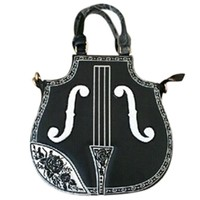 Partiss Women's Pu Leather Hobo Gothic Handbag Violin Pattern Top Handle Bag