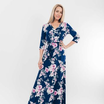Garden Party Romance Dress in Navy