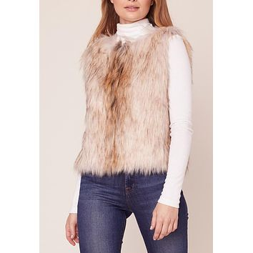 BB Dakota - Natural Bedrock Faux Fur Vest