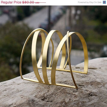 ON SALE Gold cuff bracelet made of 24K gold plated brass in a beautiful geometric design. Large cuff bracelet