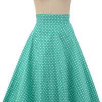 sightseeing sweetie high-waisted full midi skirt - mint polka dot | le bomb shop