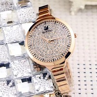 Swarovski  Women Fashion Diamonds Quartz Movement Watch